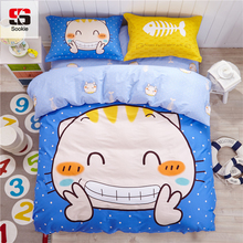 Sookie Cartoon Print Bedding Set King Size Soft Bedclothes 4Pcs Duvet Cover Sets With Pillowcases Home Bed Linen For Boys Girls(China)