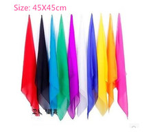 High Quality 10pcs/lot Super Thin Magic Silk 45X45cm ( random color ),Silk&Cane Magic,Stage Magic Trick,Fun,Accessories(China)