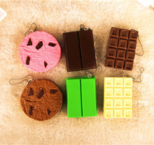 New Cute chocolate series squishy charm / mobile phone strap / retail(China)