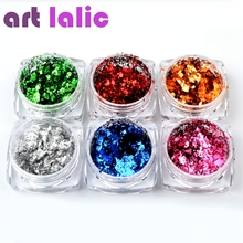 Artlalic 1 Box Tin Foil Flakes Super Laser Chameleon Nail Art Glitter Powders Sequins Decorations Magic Mirror Effect 6 Colors(China)