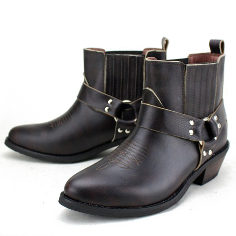 2016 shoe men autumn winter Genuine Leather Mens Work Ankle boots Martin boots British Style western cowboy boots for men botas<br><br>Aliexpress