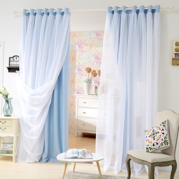 price for double layer shade curtain for roomcurtain and tulle set