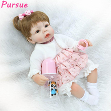 Pursue bebe reborn realista Reborn Dolls Babies American Girl Doll Brown Eyes Blond Hair Silicone Reborn Babies Dolls for Sale