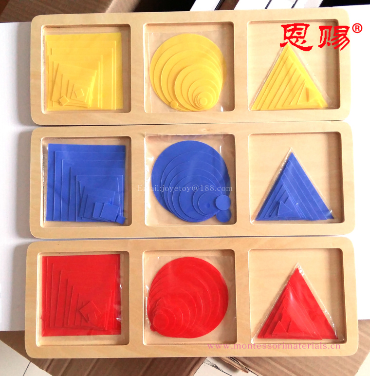3027 Circles,squares and triangles montessori materials set home school educational earning toys for children wooden toys(China)