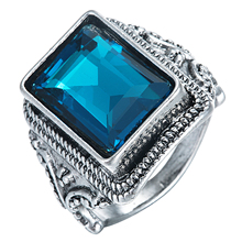 New Collection Anti Silver plated Brilliant blue large square crystal Ring Fine Jewelry Anillos Drop Shipping size 6 7 8 9 10