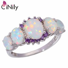 CiNily Created White Fire Opal Purple Zircon Silver Color Wholesale Hot Sell for Women Jewelry Wedding Ring Size 5-12 OJ4583(China)