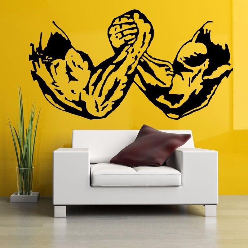 Gym Sticker Fitness Decal Body-building Arm Wrestling Posters Vinyl Wall Decals Pegatina Quadro Parede Decor Mural Gym Sticker