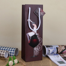 Elegant Color Wine Bag European Girl Print Paper Art Gift Bag Christmas Party Decoration Gift Wrap SD774