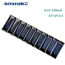 10Pcs Mini Solar Panel DIY Solar Cells Accessories Photovoltaic Module PV Module 0.5V 100mA 53*18*2.5mm(China)