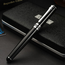 Luxury Gift Pen Set Duke d2 Smooth Black Metal Fountain Pen 0.5mm Iridium Nib Ink Pens for Writing School Supplies Free Shipping(China)