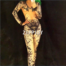 Sparkly Rhinestone Black Printed Sexy Jumpsuit Rompers Birthday Celebrate Outfit Costume Nightclub Singer Performance Stage Wear(China)