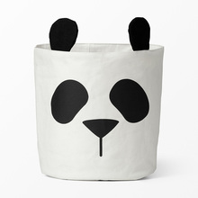 INS Hot Sale Cute Panda animal storage bag,baby kids Toy Clothes Canvas Laundry basket storage bag can stand Room Decor 30*40CM(China)