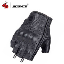 SCOYCO Leather Motorcycle Gloves Motocross Off-Road Racing Gloves Motorcycle Riding Half Finger Gloves Luva Couro Motoqueiro(China)