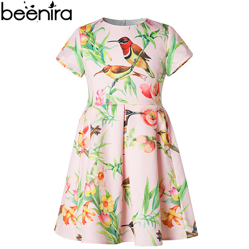 Summer Girls Dress Children Cartoon Lotus Print Bird High Quality Clothing 2017 Kids Vertical Fold Pink Costume for Princess<br>