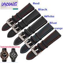 UYONG carbon fiber nylon band For fifty 20 21 mm black red, blue and orange General flat mouth style strap