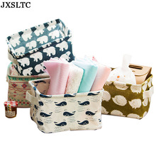 JXSLTC Cute Linen Home Storage Box Desk Organizer Folding Office Desk Storage Organizer 5 Colors Jewelry Cosmetic Fast Shipping