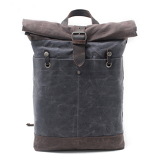 Man Luxury Cowboy OilSkin Bags Batik Waxed Canvas Rucksack Backpack Roll up top bag men's waterproof out door travel bag Daypack