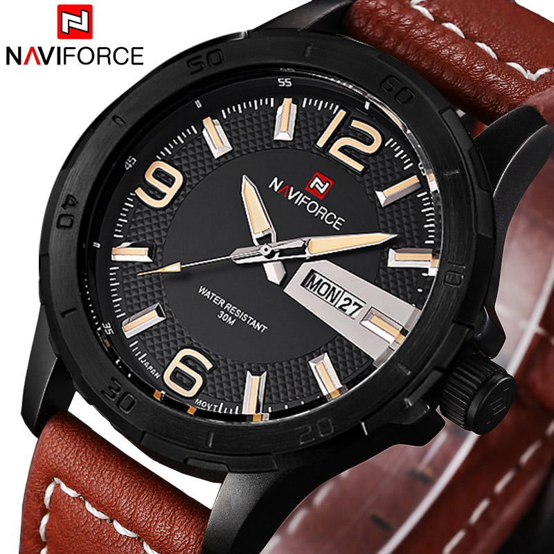 2016 Leather Military Watches Men Luxury Brand Quartz Watch Sports Watches NAVIFORCE Men Wristwatches Relogio Masculino Relojes<br><br>Aliexpress