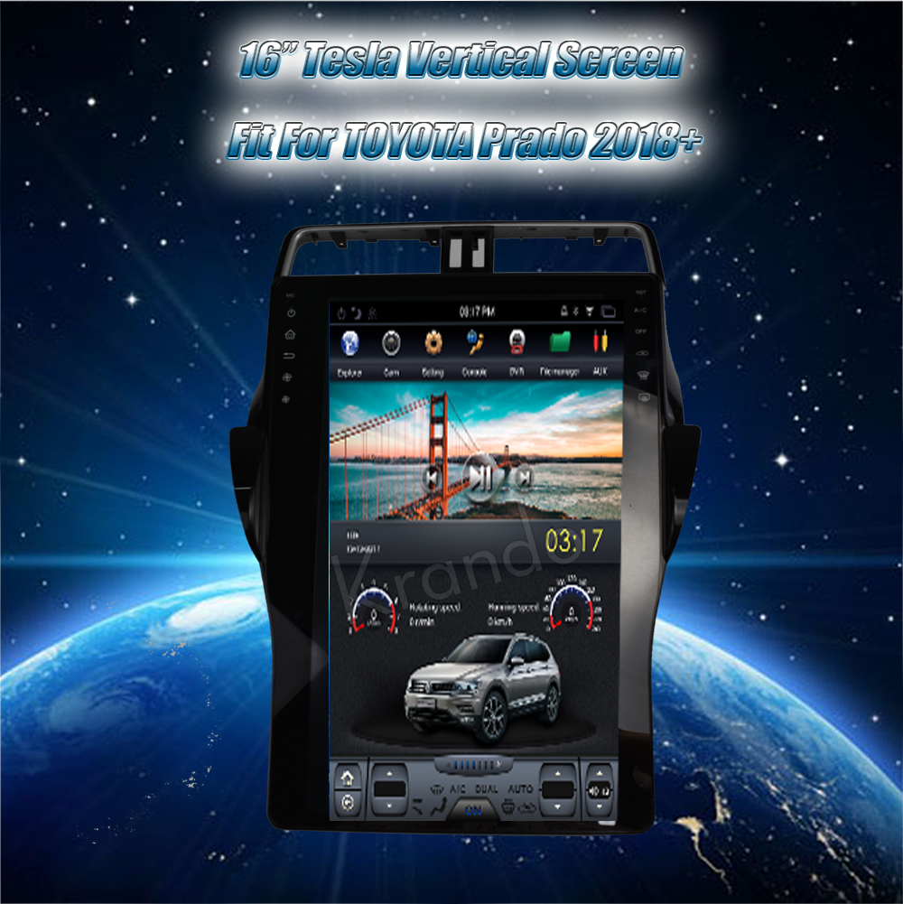Krando Vertical screen android car radio multimedia For 16'' toyota prando 2018+ Big screen navigation with gps system (5)