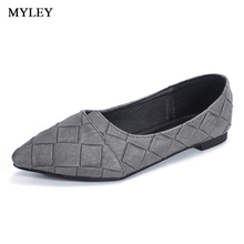 MYLEY Women Fashion Plaid Flats Shoes Pointed Toe Comfort Soft Slip-On Boat Low Heel Casual Ladies Footwear Multi Color Shoes(China)