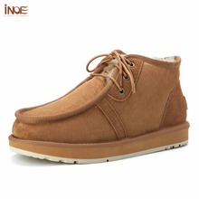 INOE Beckham same style men winter snow boots real sheepskin leather winter shoes fur lined man winter boots high quality 35-44(China)