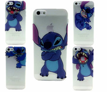 2015 New arrival Transparent Ultra Thin cute cartoon Stitch Jump eat logo pattern hard Cover case cell phone for iphone 5 5S 5G