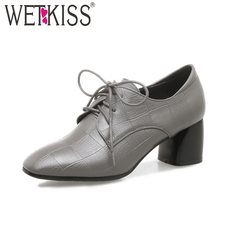 WETKISS 2018 Fashion High Heels Women Pumps Square Toe Lace Up Thick Heels Printing Female Shoes New Spring Ladies Casual Shoes<br>