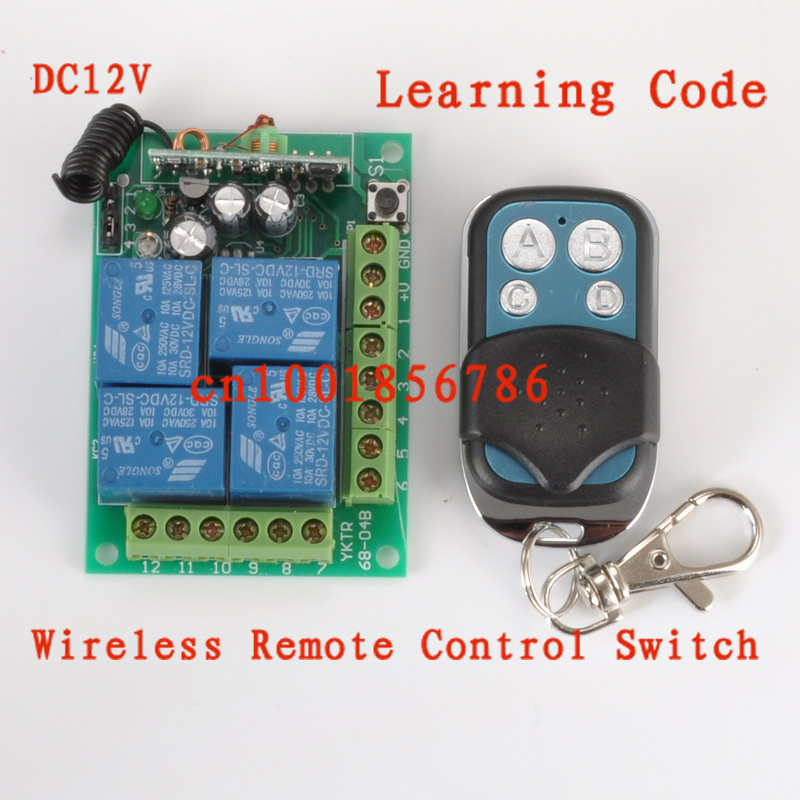 12V 4CH Wireless Remote Control Switch Light Lamp Power Universal Remote Controller Learning Code 315/433MHZ Output adjusted<br><br>Aliexpress