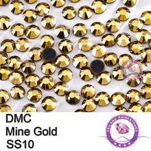 DMC Hotfix Crystals Rhinestone SS10 Mine Gold 10 Gross/bag Brides Stones Glass Transfer Beads Garment Accessories,Wholesale