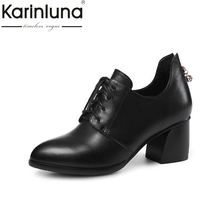 KarinLuna 2018 Spring Autumn Genuine Leather Ol Mixed Color Women Pumps High Heels Lace Up Elegant Black Shoes Woman(China)