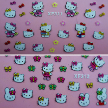 50 Pcs Beautiful Nail Sticker Design Hello Kitty Nail Stickers 3D Nail Decals Cute Cartoon Nail Tips Stickers