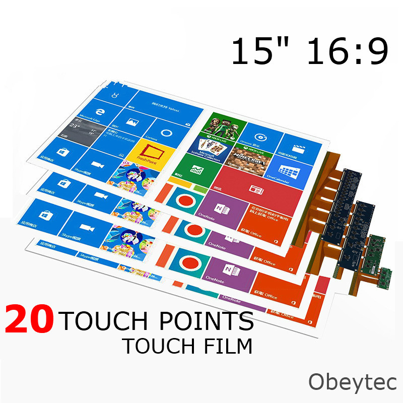 Obeytec 15 inch Nano Touch Foil, USB Port, 20 Touches, Best Choice for Magic Mirror, Kiosk Terminal, White Board, Wide Screen