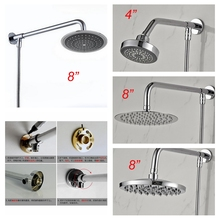 Free Shipping Bathroom Shower Rainfall Shower Head Polish Chrome Wall Mount Brass Shower Arm