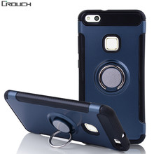 Crouch For Huawei P10 plus case Magnetic Suction Hard Finger Ring Holder Design Accessories Phone Cover For Huawei P10 lite case(China)