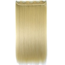 "TOPREETY Heat Resistant B5 Synthetic Fiber 24"" 60cm 120gr Straight 5 clips on clip in hair Extensions(China)"