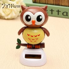 KiWarm Overvalue Solar Powered Dancing Owl Automatic Swinging Head Owl Statues For Home Desk Office Car Ornament Toy Gift Crafts(China)