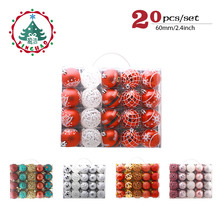 inhoo 20pcs/set Christmas Tree Ornament Balls plastic 6cm Xmas Baubles Accessories Christmas Decorations For Home Party Gift(China)