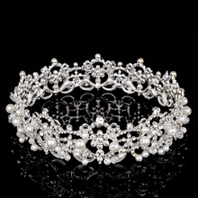Silver Color Crystal Pearl Pageant Wedding Bride Circle Quinceanera Tiaras Princess Bridal Full Round Crown