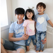 New 2017 Summer family cotton set family look matching family clothes family set clothes for mother daughter love short T-shirt