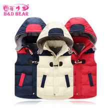 Vest Kids Girls Boys Winter Warm Thick Plus Velvet Vests Duck Down Tops Waistcoats Horn Button Zipper Hooded Children Jackets(China)