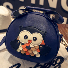Cute Cartoon Owl Printed Women Shoulder Bag Baby Girl Mini Tote Bag Female Barrel-Shaped Crossbody Bags Lady PU Leather Handbag