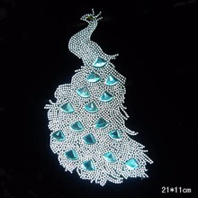 1pcs/Lot Wholesale  Blue  COLOUR Peacock -4  Rhinestone Diamante Transfer Iron On Hotfix  Gem Crystal  Motif Patch  Bling