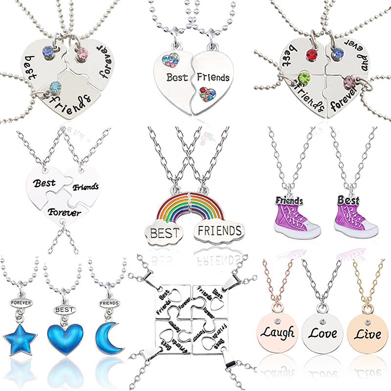 Best Friend Pendant Necklace For Women Mixed Style Puzzle Love Star Moon Crown Metal Short Chain Student Friendship Jewelry Gift