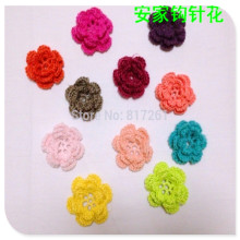 2016 new arrival ZAKKA 20 pic/lot 4-5cm handmade crochet cotton artificial flowers for wedding decoration colored lace reoses