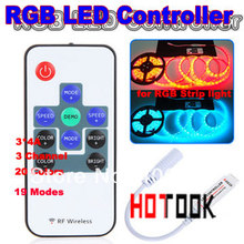 Mini RGB Remote control RF 12A RGB Controller for 5050 3528 LED Strip light 12V 24V 19 Dynamic Modes and 20 Static Color X 10PCS(China)