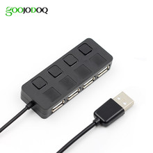 USB 2.0 Hub Splitter with Separate ON/OFF Switch Cable without power adapter LED 4 Ports For Laptop Desktop PC Black /White E03