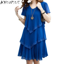 Vestido De Festa Robe Sexy Dress Women Party Dresses 2017 5xl Plus Size Women Clothing Vestidos Black Blue Summer Dress Chiffon