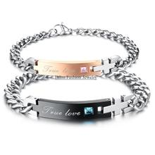 "Fashion Stainless Steel ""True Love"" Couple Chain Bracelet Bangles with Rhinestone Id bracelets For Women Mens(China)"