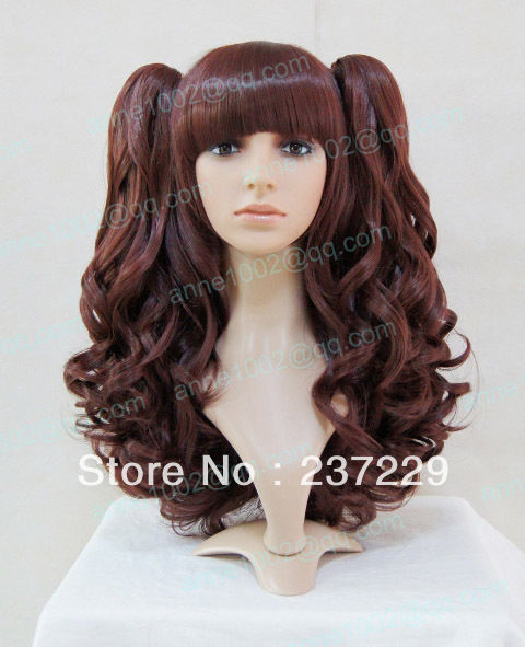 Wholesale price FREE SHIPPING ^^^^-hot sale / lolita long brown Cosplay split type wig<br><br>Aliexpress