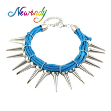 Newindy Statement Gold-Color Silver Color Metal Charm Bracelet Spike With Blue Black Cotton Punk Style Bracelets Accessories(China)